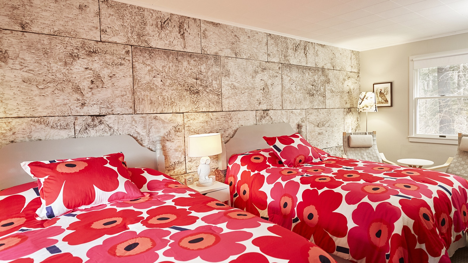 Beds with poppy sheets